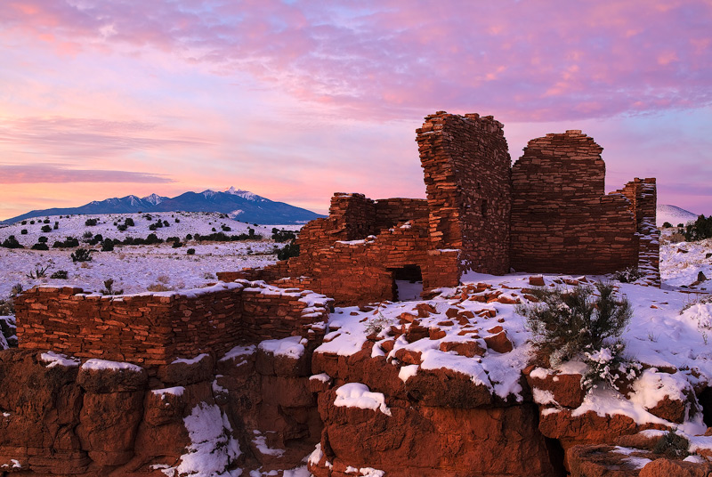AZ, Arizona, Wupatki National Monument, Flagstaff, snow, blizzard, color, San Fransisco Peaks, winter, ruins, weather, , photo