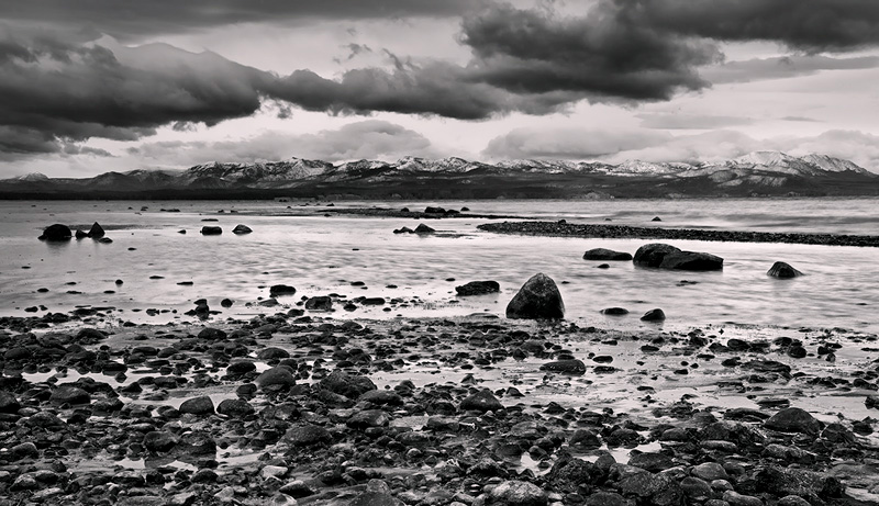 Yellowstone Lake, Yellowstone National Park, WY, mountains, water, rocks, lake, blizzard, fall, skies, dramatic, scene, , photo
