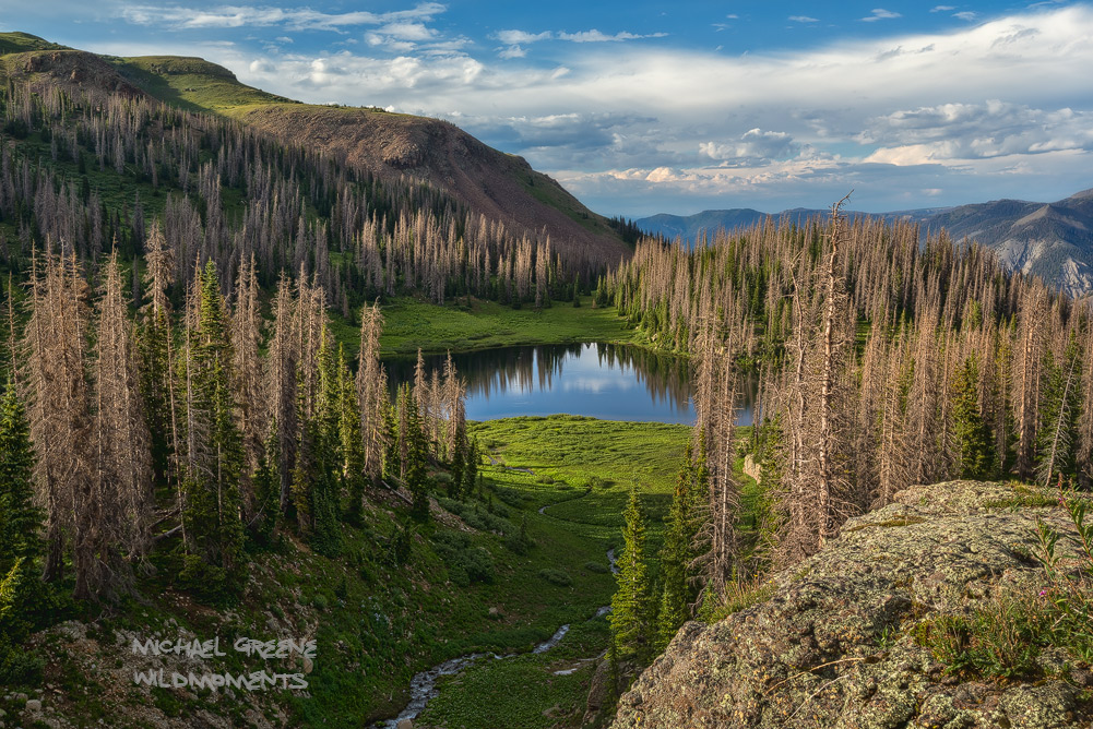 An evening portrait of Quartz Lake in the San Juan National Forestsouth of Pagosa Springs, Colorado.