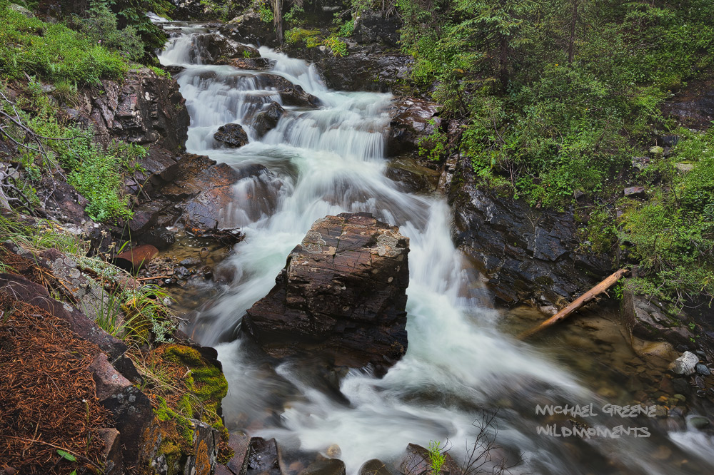 This waterfallis named after the pattern of the water above the rock. Cunningham Gulchwas flowing high in August...