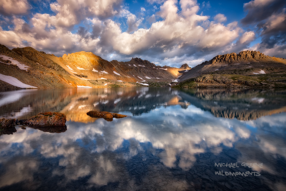 Dazzling conditions just after sunrise at Columbine Lake made for a spectacular morning of photography and exploration.