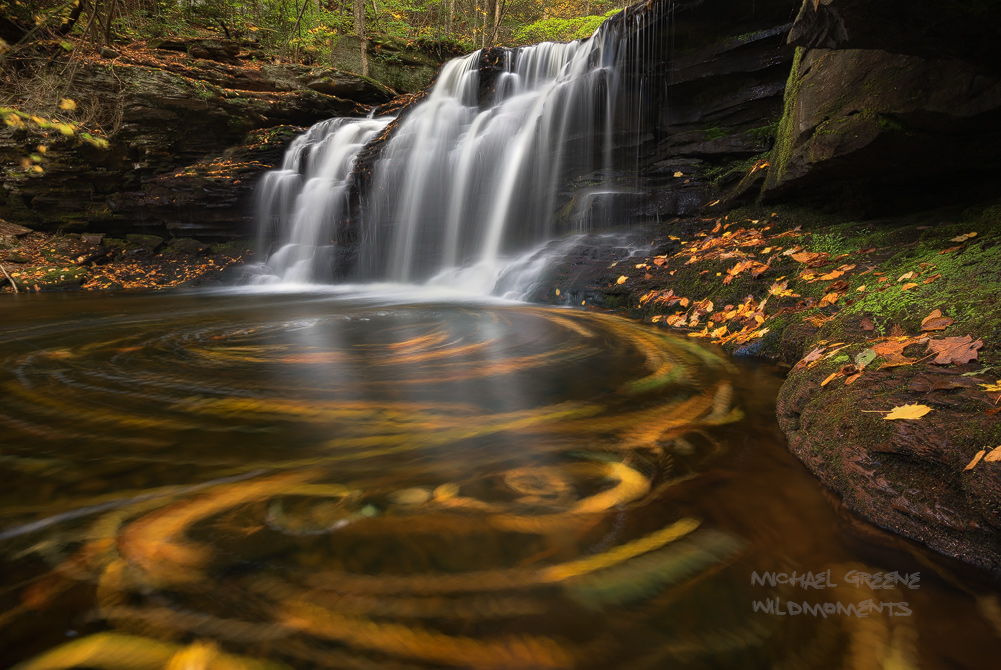 One of the many waterfalls along Kitchen Creek in Ganoga Glen. Ricketts Glen State Park is Pennsylvania's most famous park. A...
