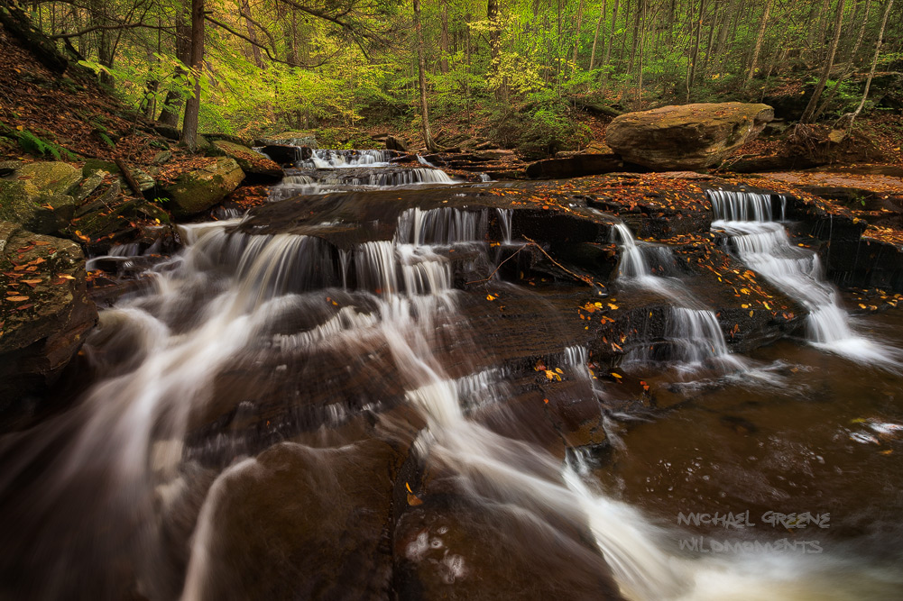 A tricky capture of aseries of cascades along the Falls Trail in Ricketts Glen State Park. This image involved some cold...