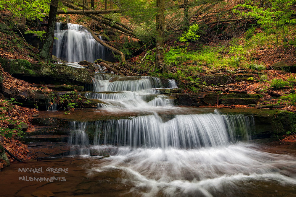 A cascading trio of small waterfalls makes an idyllic picnic spot in the endless mountains found in Northern PA.