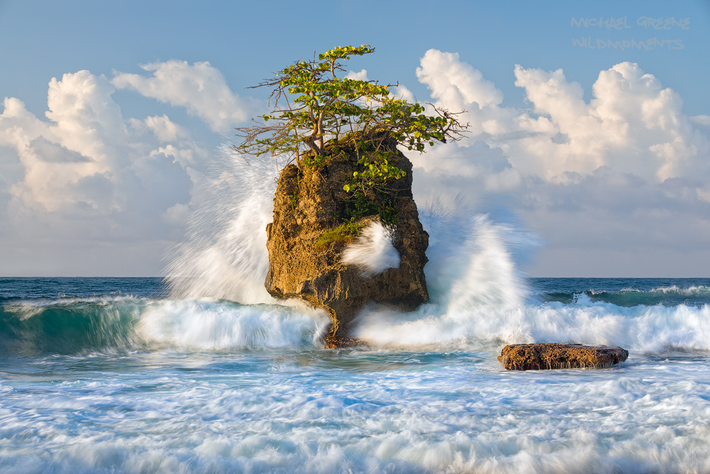 Big rocks and choppy surf dominate the scenery at a prominent viewpoint in the Gandoca Manzanillo National Wildlife Refuge. The...
