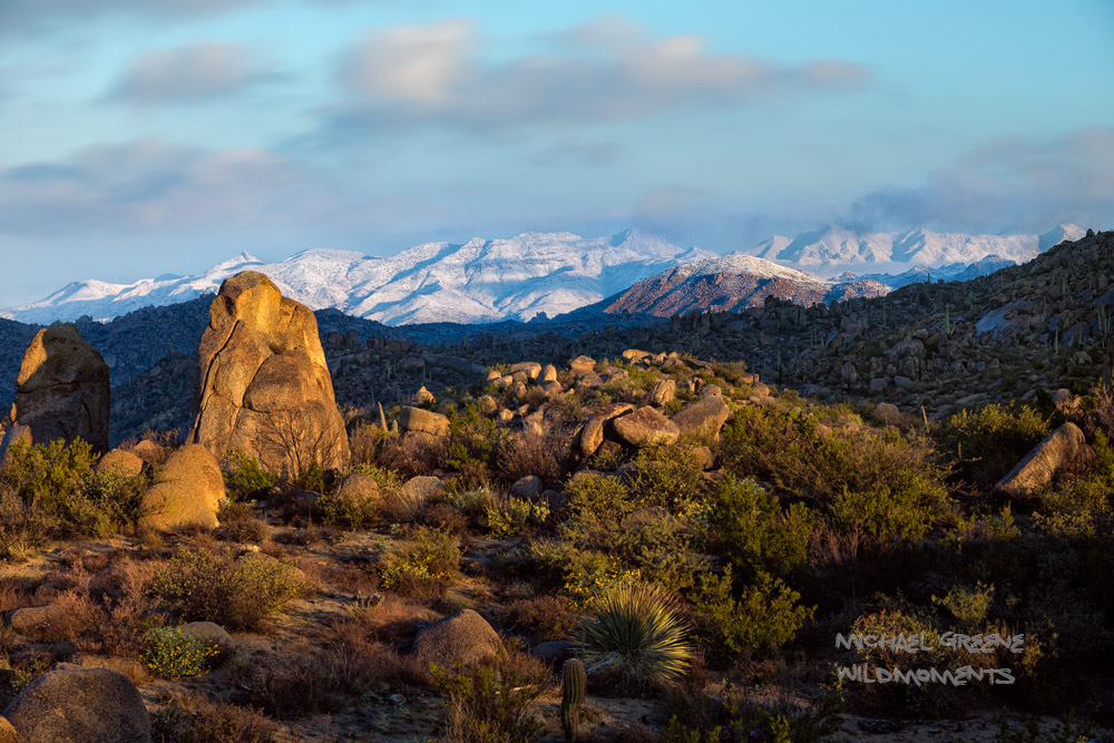 Early morning light captured from the iconic boulders of the Four Peaks Wilderness looking northwest toward the snow-capped Mazatzal...