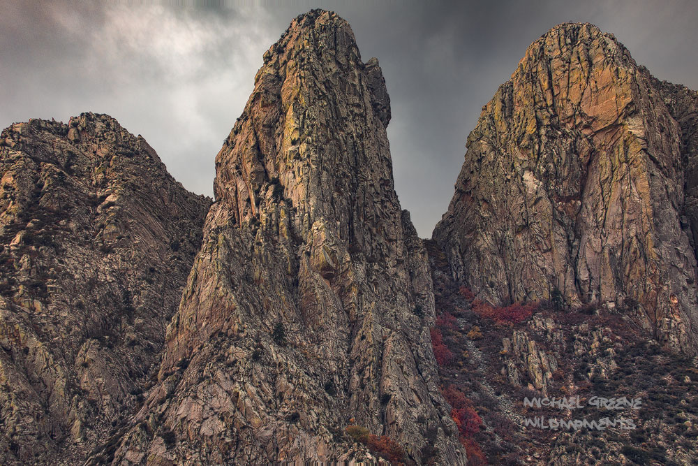 A close-up of the highest peaks of the Organ Mountains during a stormy afternoon. The Organ Mountains are located 10 miles outside...