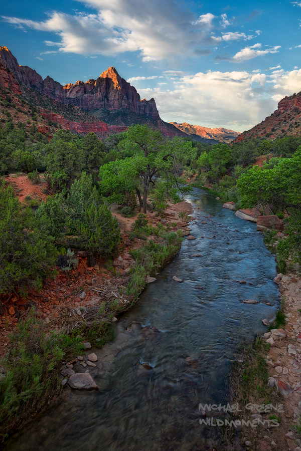 This is an iconic view of the Watchman from the bridge across the Virgin River connecting Zion Canyon to the eastern section...