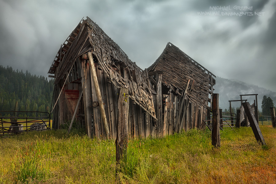 I was fascinated by this old barn on a recent trip to CA. It was raining hard when I captured this image. I was holding my own...