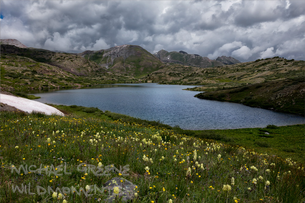An iconic view from the southern tip of the second Highland Mary Lake in the Weminuche Wilderness on a stormy summer day. Highland...