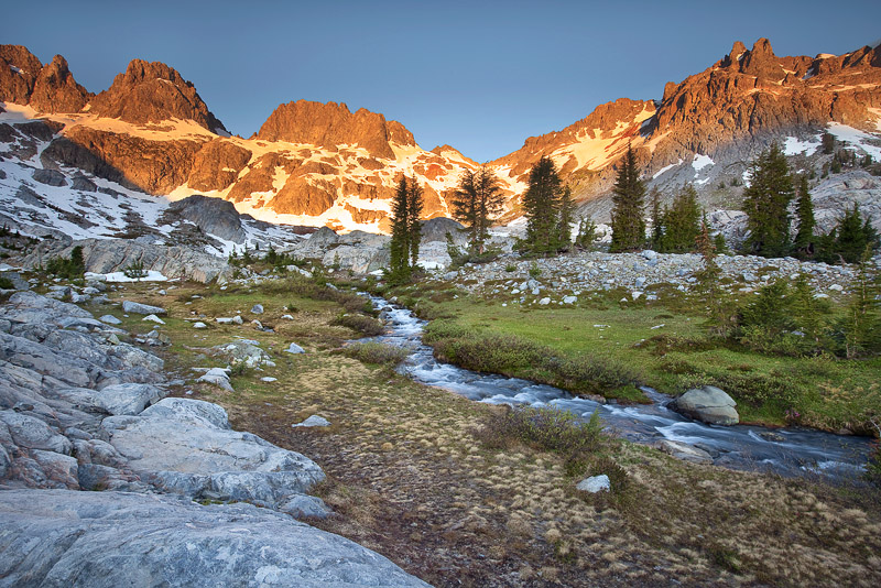 A high altitude stream in the Ansel Adams Wilderness is a direct result of snow melt from the Minarets. Pictured here in the...