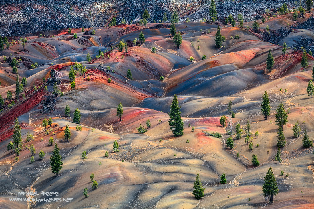 A bird's eye view of the incredible painted desert in the northern reaches of Lassen Volcanic National Park in Northern California...