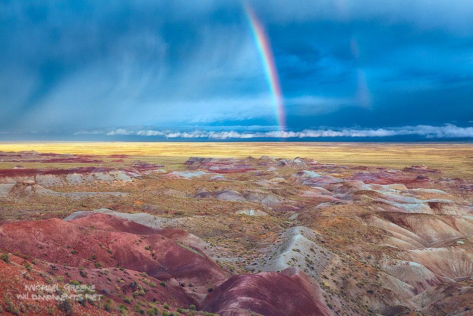 I was fortunate to witness the best light of a rare June storm front over the Little Painted Desert County Park near Winslow...