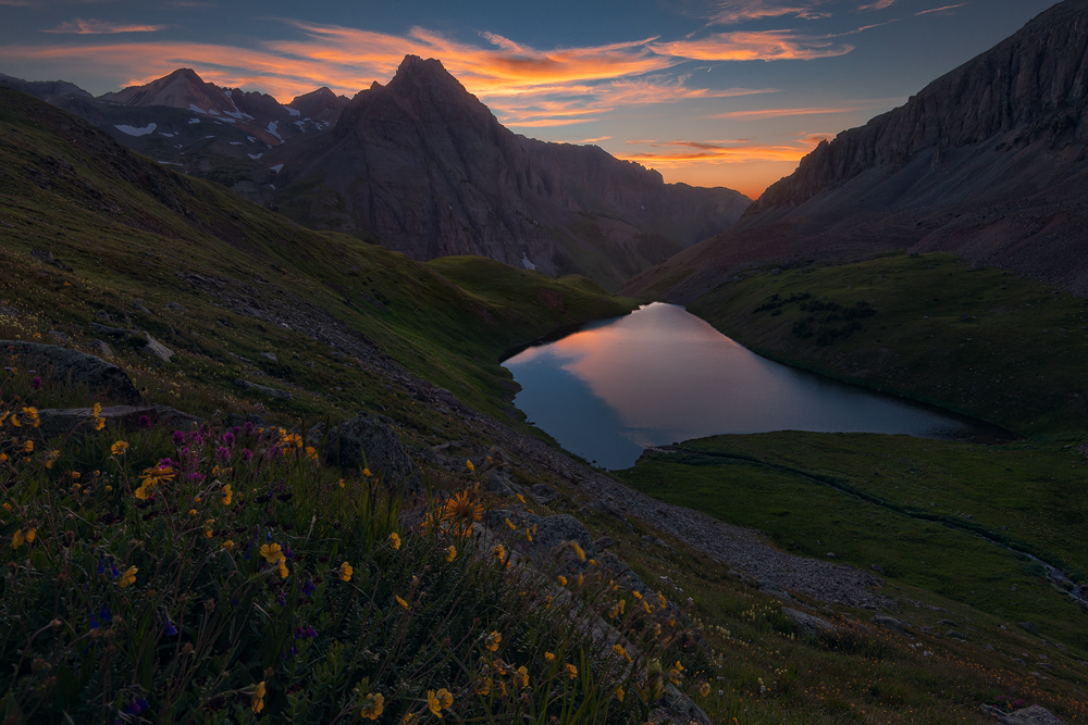 Sunset above Middle Blue Lake in the Mount Sneffels Wilderness near Ridgway. Learn more in my ebook, Capturing Colorado Hiking...