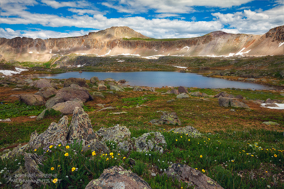 At 12, 700 ft the Lewis Lake Basin located near the top of Orphir Pass is one of the higher alpine lakes in the San Juan Mountains...