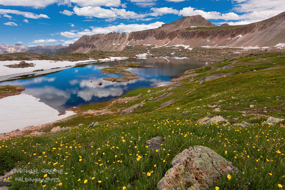 Afternoon light at Lewis Lake above Bridal Veil Basin near Telluride. Learn more about this exciting spot in my ebook, Capturing...