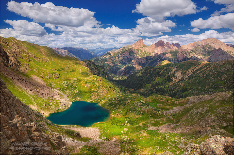 This is a view of Ruby Lake located deep within the Weminuche Wilderness - Colorado's largest wilderness area. The deep views...