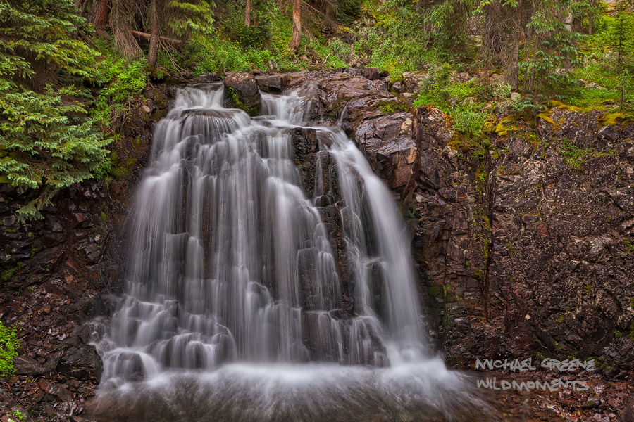 """A quaint waterfall near """"The Forks"""" on the Highland Mary Lake Trail. Highland Mary Lakes is part of the Weminuche Wilderness..."""