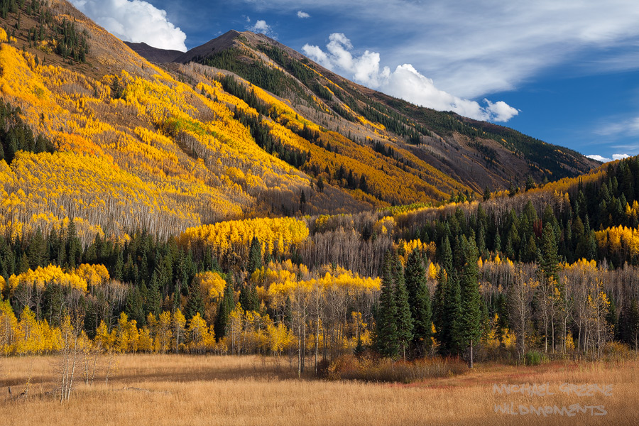 Diffused afternoon light on a beautiful day accentuates the colors of green, blue and gold in the Maroon Bells-Snowmass Wilderness...