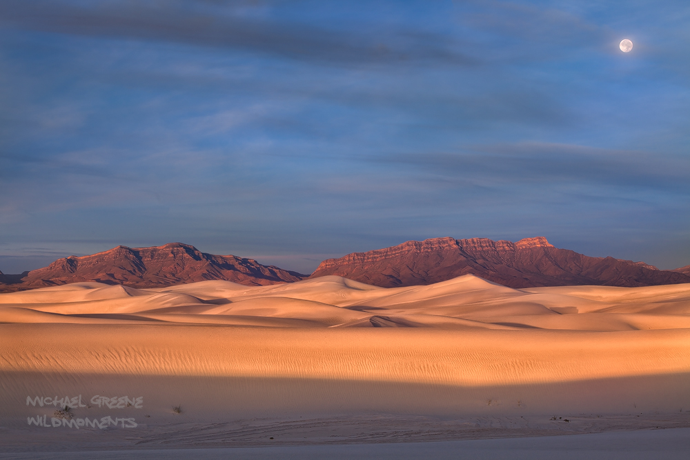 Traveling deep into the backcountry I was fortunate to capture the full moon setting as the first rays of light hit the dunes...