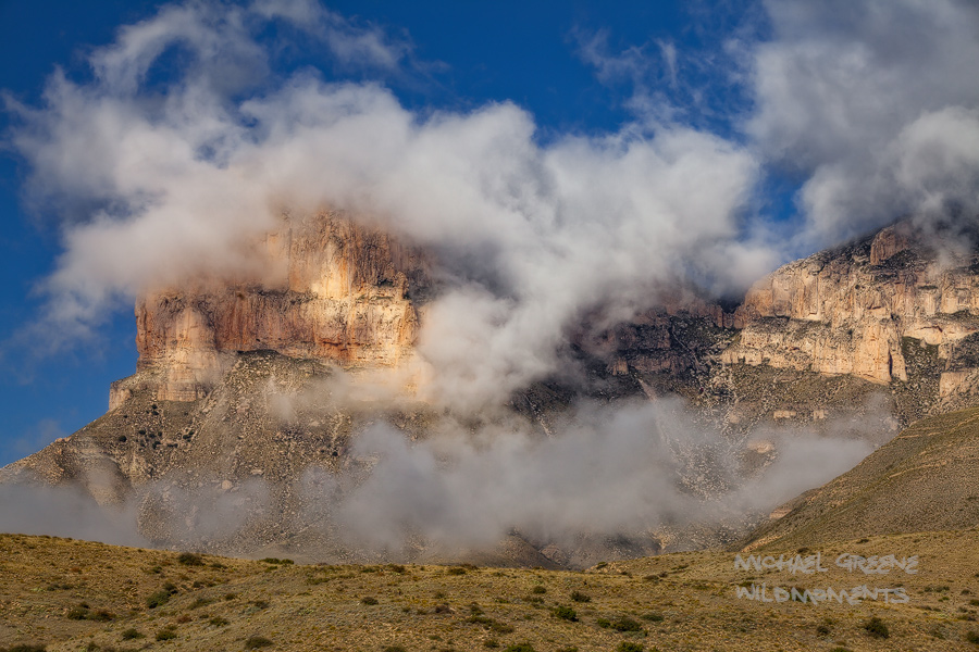 A rare inversion covered most of the profile of the Guadalupe Mountains (West Texas) western escarpment in fog during a bright...