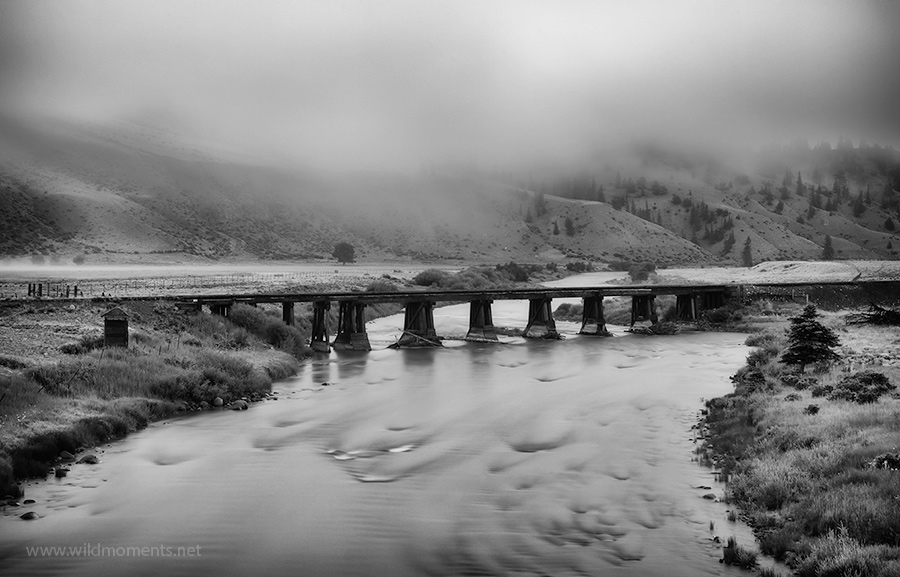 A railroad bridge over the Rio Grande River captured during an inversion outside of Crede one summer morning.