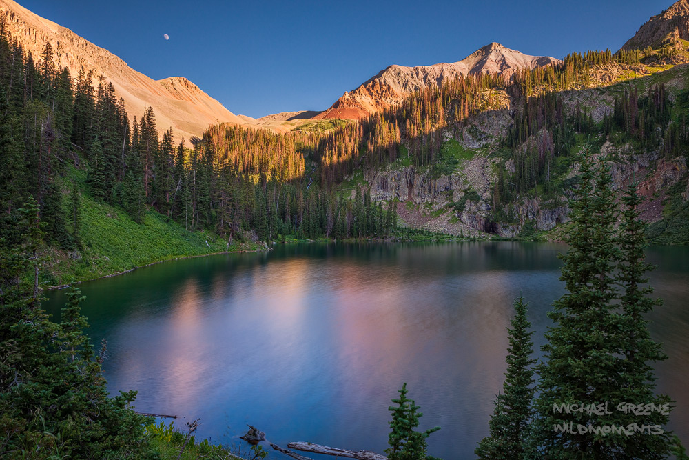 Late afternoon golden light at Crater Lake in the South San Juan Wilderness near South Fork. Learn more about this exciting spot...
