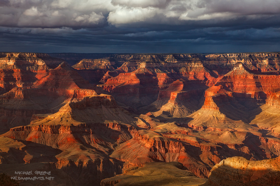 Afternoon storm light casts wicked contrast in a section of the South Rim near Yaki and Mather Points in the Grand National Park...