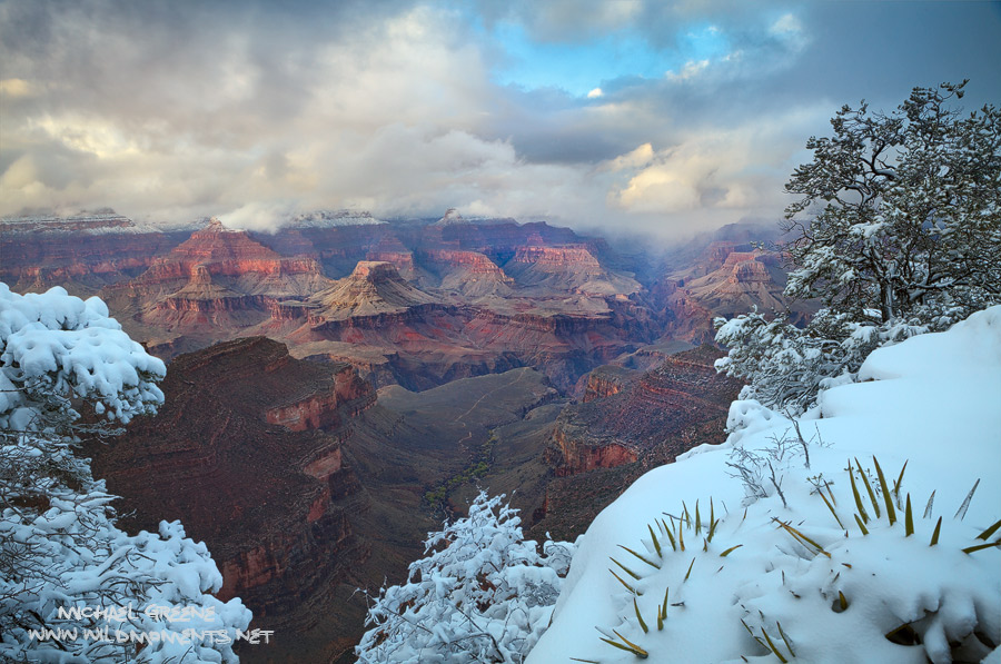 A rare glimpse into the canyon as storm clouds briefly parted during a several days of snow at the Grand Canyon.