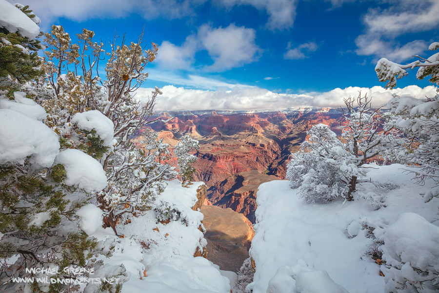 Mid afternoon scenery is decorated in snow after a storm at the Grand Canyon in Northern Arizona.