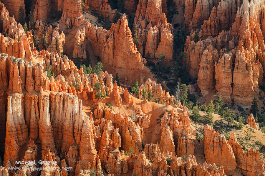 Morning light shines deep into the heart of hoodoo country in Bryce Canyon National Park located in Garfield County, UT.
