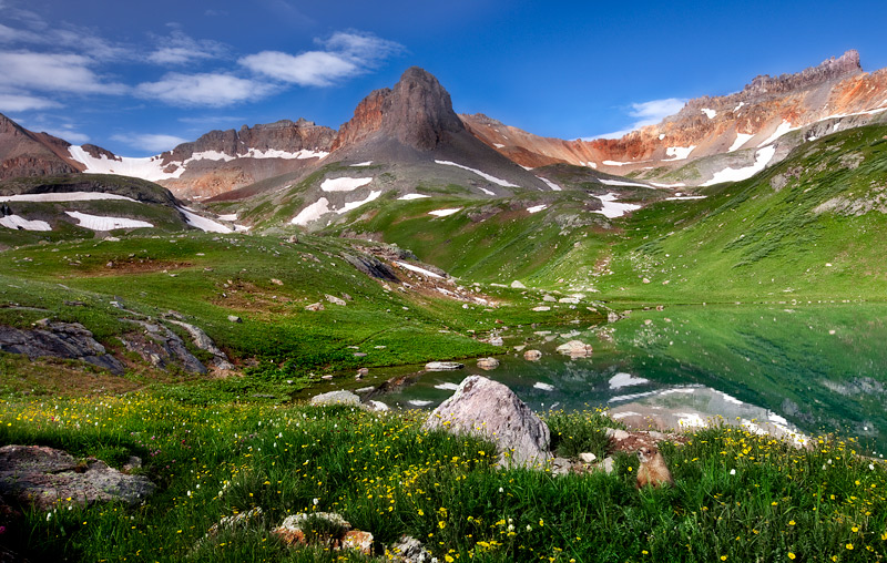 A marmot surveys the scene from his lake front home amidst wildflowers and diffused mid morning light at Ice Lake Basin.