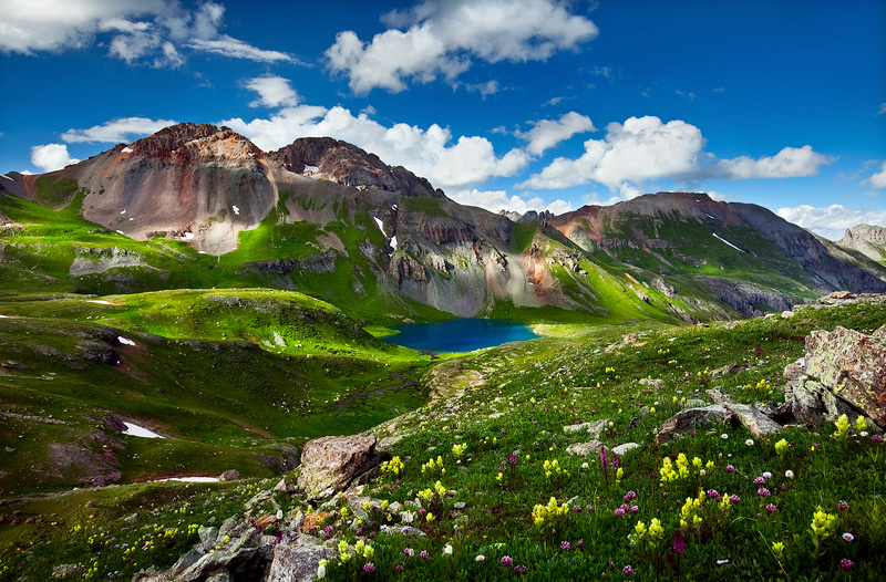 This shot is a view from down and across Ice Lake Basin as seen from a wildflower filled vantage spot in the late afternoon.