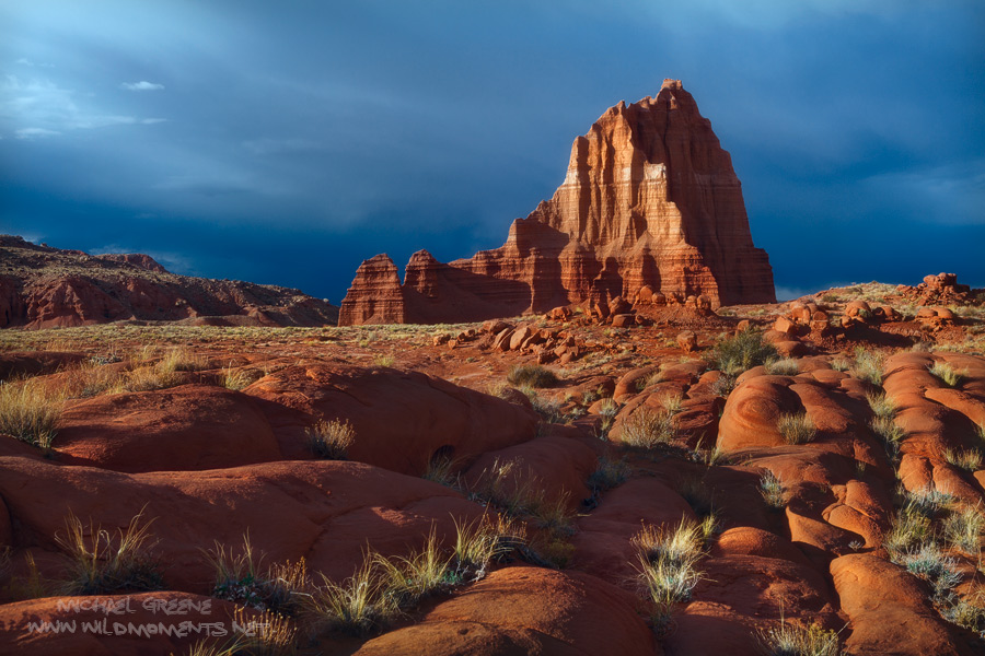 An intimidating storm brought fierce winds to Lower Cathedral Valley. Brilliant sunlight and ominious clouds set the stage about...