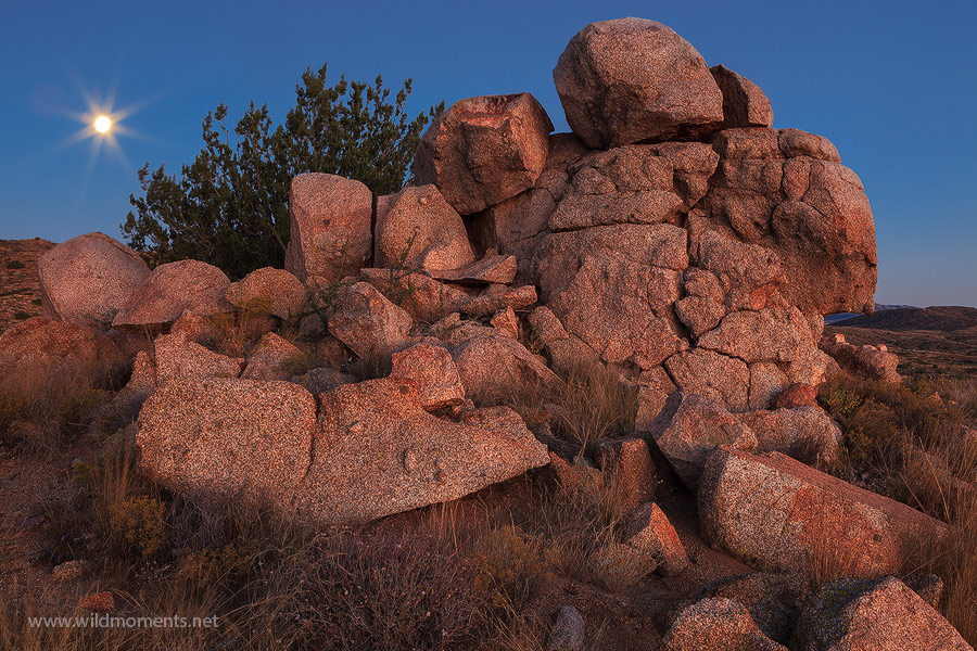 A jumble of boulders in the rolling grasslands of Agua Fria National Monument is dressed in the warm glow of a fading sunset...