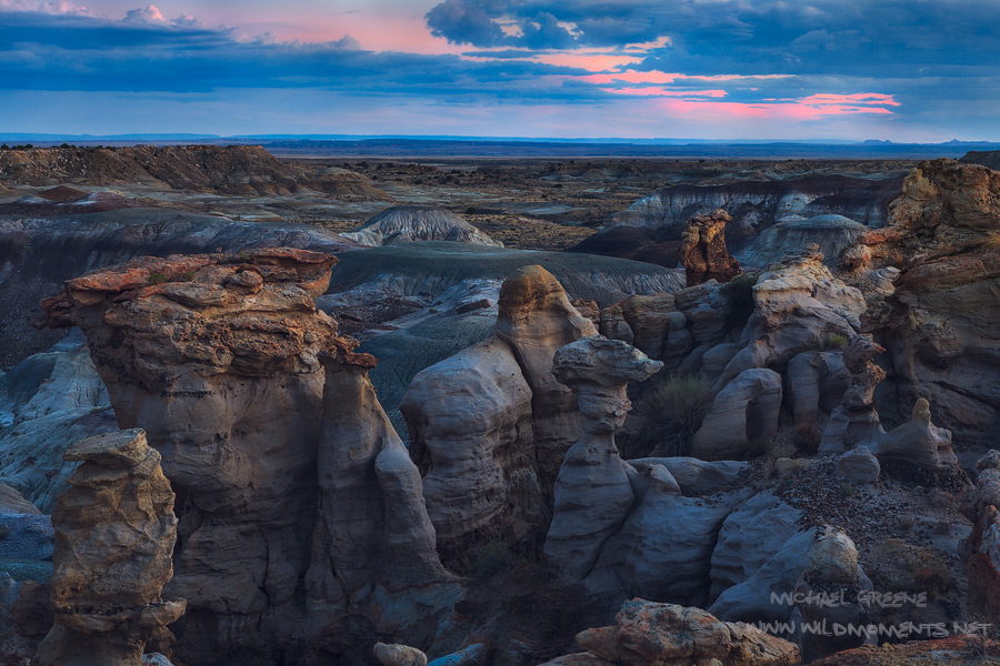 Blue hour in the De Zan Nin Wilderness captured from a perch in a hoodoo filled basin with deep views of the colorful sky.