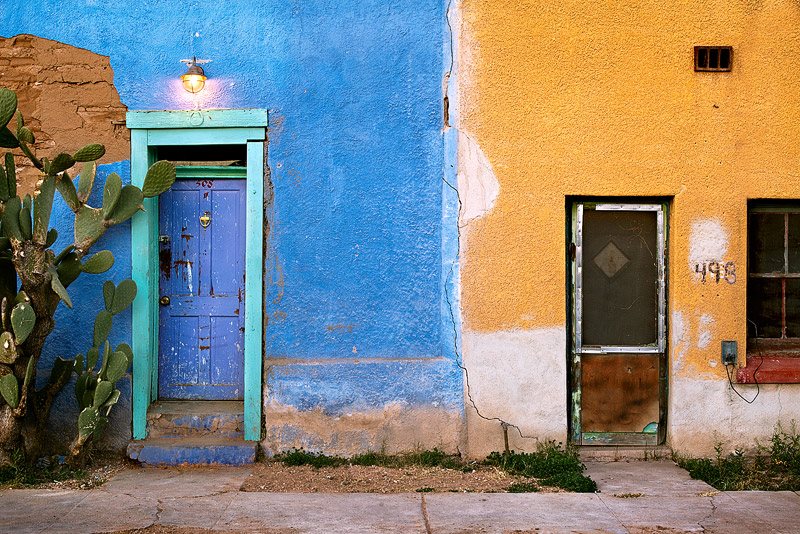 Colorful and decaying walls add lots of character to a morning view of a particularly interesting area of Tucson's barrio viejo...