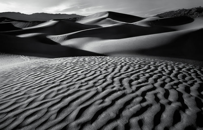 You are looking at a black and white interpretation of a hidden view deep within the boundaries of the Mesquite Flats sand dunes...