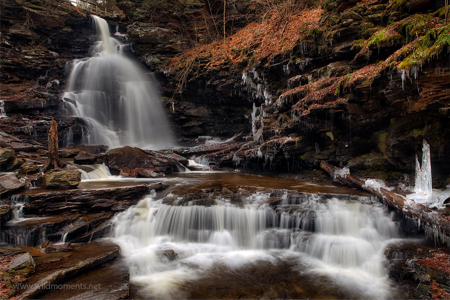 You are looking at the 60 foot waterfall called Ozone Falls captured on Christmas Eve 2013 during a day of snow and sun.