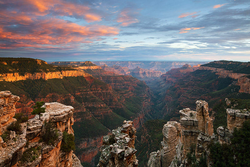 Rock chimneys and platforms grace Robber's Roost, a remote canyon vista on the North Rim.This view is from a side...