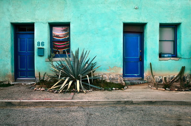 I was drawn the colors and textures of these neighbors' homesin the Barrio Viejo, Tucson.