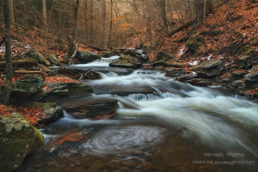 A winter view of Kitchen Creek in the late afternoon during a stormy day. You may notice a small amount of dappled sunlight in...