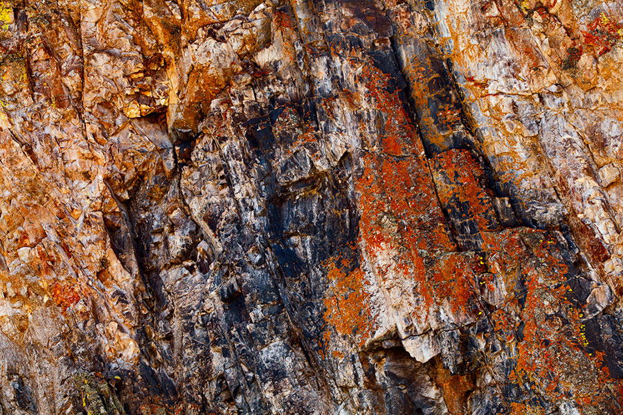 Incredible, abstract details and colorful lichen decorate the walls of the San Juan Mountains while bathed in beautiful afternoon...