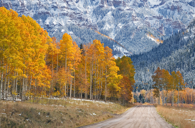 The road leading to the Silver Jack Reservoir helps lead the viewer through this scene captured in the heart of the Uncompahgre...