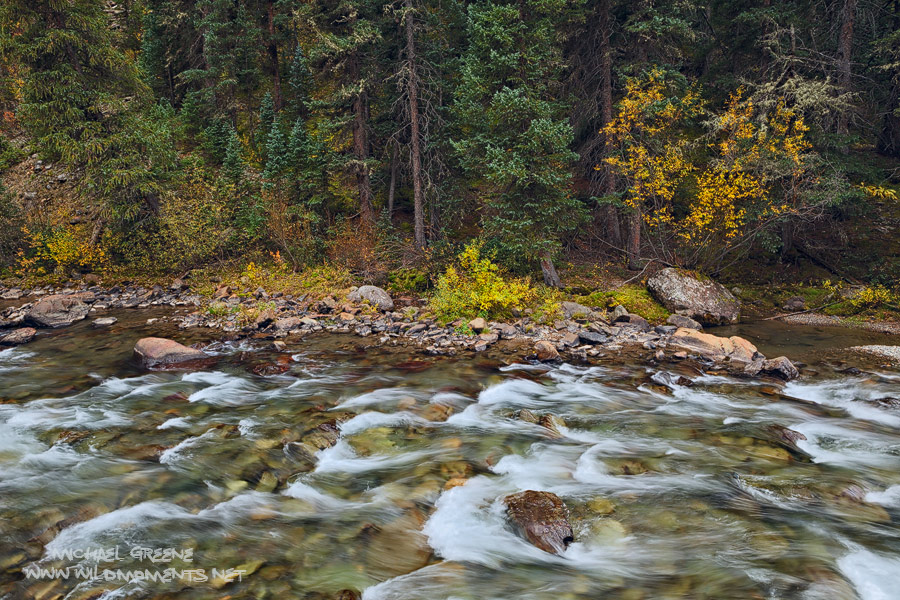 An autumn afternoon image of the crystal clear Animas River flowing downstream outside of the mountain town of Silverton, CO.
