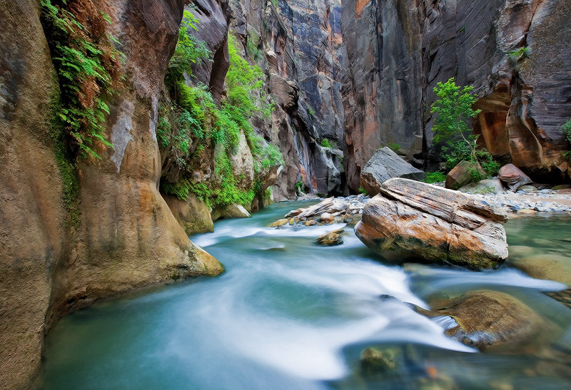 This is a picture of a quiet, peaceful late afternoon scene during a trip in the Narrows. During the summer, the Virgin River...