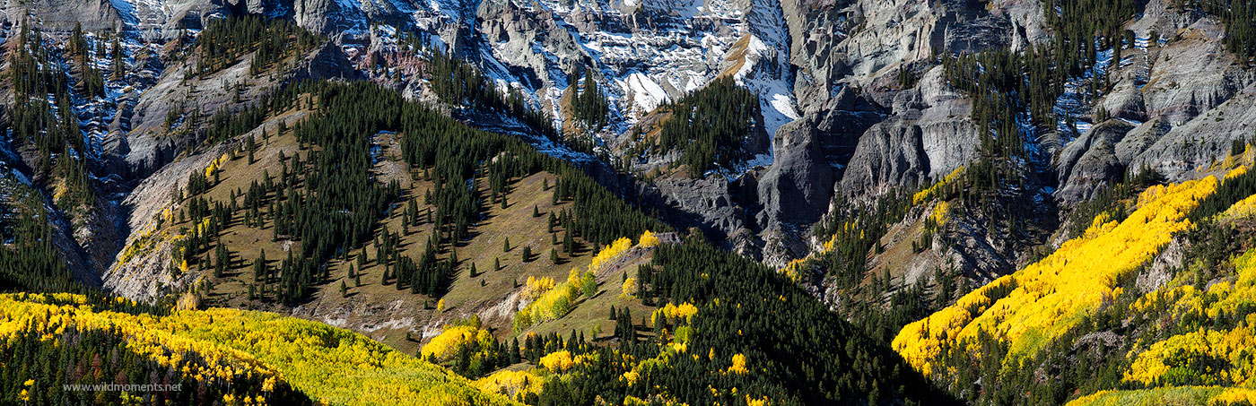 A panoramic view of the uppermost reaches of the distinguished peaks outside of Ouray, CO during a beautiful autumn morning....