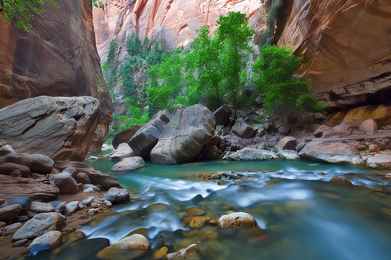 Fading light radiates the stark beauty of the magical Virgin River as it weaves through a widening canyon.